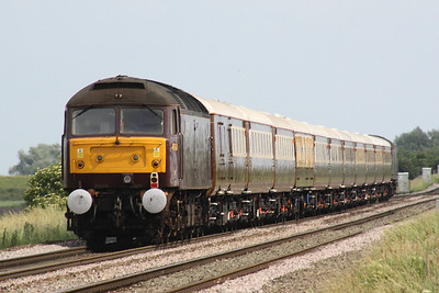 47826 SPRINGBURN passes Welney Road AHB on the back of 5Z45 Crewe Holding Sidings to Ely, 47832 leading, 15/06/18. The train will overnight at Ely and then move to Stevenage in the morning to work Statesman Rail's 1Z45 'Snowdonia Statesman' Stevenage - Blaenau Ffestiniog.
