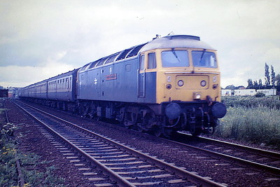 47583 COUNTY OF HERTFORDSHIRE approaches Norwood Road LC on a SSO special from Yarmouth. 07/85. 47583 was built by Brush Falcon Works in 1964 as D1767 and was renumbered to 47172 in March 1973. It was ETHed and renumbered to 47583 in November 1980. In March 1996 it was fitted for multiple working and became 47734. It was withdrawn in March 2004 and scrapped in May 2008.