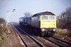 47012 approaches Manea with the Whitemoor - Kings Lynn Speedlink feeder, 22/02/88. 47012 was built  by Brush Traction in 1963 as D1539 and renumbered in May 1974. It was withdrawn in December 1989 and scrapped in April 1992.