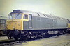 47079 G J CHURCHWARD sits in Hundred Road Sidings, March Depot, 10/05/87. 47079 was built by Crewe Works in 1965 as D1664 and renumbered in February 1974. In 1985, it was repainted into 'Swamp Green' livery and twiddly bits in connection with the  GWR 150 celebrations but happily repainted into Railfreight Grey in 1987. In May 1996 it was passed to Freightliner and in July 1999 it was converted to 57009. In July 2007 it went into the DRS Fleet, where it is currently in store.