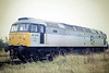 47079, recently ex-Works, sits on March Depot in Railfreight Metals Sector livery, 09/87, a distinct improvement on the livery it had previously carried. 47079 was built by Crewe Works in 1965 as D1664 and renumbered in February 1974. In 1985, it was repainted into 'Swamp Green Vomit' livery in connection with the  GWR 150 celebrations but happily repainted into Railfreight Grey in 1987. In May 1996 it was passed to Freightliner and in July 1999 it was converted to 57009. In July 2007 it went into the DRS Fleet, where it is currently in store.
