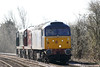 47813, in full ROG blue livery, approaches Badgeney Road AHB on 0E20 Ely Papworths Sidings - Peterborough Orton Mere, 20142 and 20007 in tow, 05/04/18. This train had come from Leicester earlier as 5E43 with some HST vehicles for storage and the Class 20's bound for the NVR Diesel Gala this weekend.