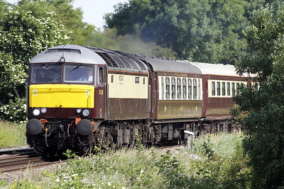 57601 WINDSOR CASTLE passes Silt Road LC on 5Z72 Carnforth - Norwich 'Northern Belle' ECS, 57313 SCARBOROUGH CASTLE bringing up the rear, 14/06/21. The train is due to work several East Anglian local trips today and tomorrow and then return to Chesterfield.