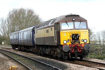 57312 SOLWAY PRINCESS passes Badgeney Road AHB on 5L46 Leicester - Ely North Junction with HST barrier vans nos. 6330/6338 in preparation for a stock move to the north, 11/03/19.
