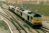 60060 JAMES WATT, in RF Coal Sector livery, follows 60088, in Transrail livery, into Whitemoor in tow of 66091, 26/03/05.