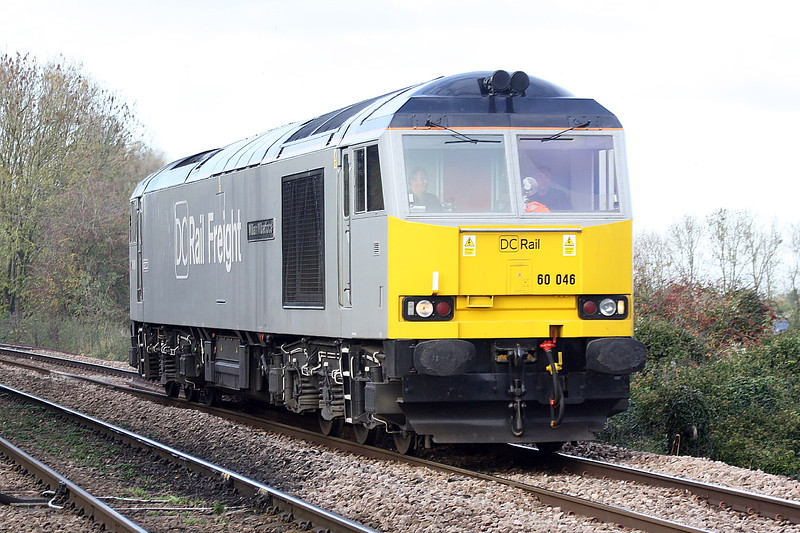 60046 WILLIAM WILBERFORCE of DC Rail approaches Badgeney Road AHB on 0Z61 Peterborough - Cambridge, 05/11/20.