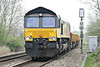 66847, originally Freightliner 66574, approaches Badgeney Road AHB on 6L37 Hoo Junction - Whitemoor Yard, 03/04/14.