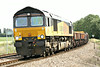 66847, originally Freightliner 66574, rounds the bend towards Silt Road LC on 6L37 Hoo Junction - Whitemoor Yard, 04/08/14.