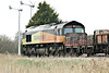 66847, originally Freightliner 66574, heads for Whitemoor Yard past Horsemoor with 6L37 from Hoo Junction, 27/03/14.