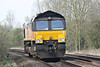 66850 DAVID MAIDMENT OBE, originally Freightliner 66577, passes Badgeney Road AHB running as 0L37 Hoo Junction - Whitemoor Yard on 28/03/14.