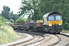66847 rounds the bend towards Silt Road LC on 6L37 Hoo Junction - Whitemoor Yard, 04/08/14.