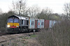 66415 approaches Silt Road LC on 4L85 Doncaster Europort - Felixstowe North running almost 2 hours late, 13/03/17.