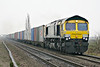 66416 approaches Welney Road AHB on 4E22 Felixstowe - Leeds freightliner, 08/12/16.