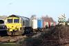 66525 runs through Whittlesea on 4M81 Felixstowe North - Crewe Basford Hall, 18/01/20.