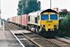 66505 heads east through Whittlesea Station on 4L85 Leeds - Felixstowe freightliner, 25/09/01.