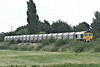 66529 approaches Silt Road LC on 6M29 Harlow Mill - Bardon Hill stone empties, 21/08/14.