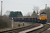 66702 approaches Badgeney Road AHB on 6T64 Harlow Mill - Whitemoor Yard composed of empty spoil wagons, 14/01/18.