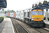66726, on hire to Freightliner, passes through March Station on 4L85 Doncaster Railport - Felixstowe North, 02/04./14.