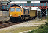 66708 heads east through March Station on 6L79 Selby - Felixstowe, 10/04/03. Note new colour light signals.