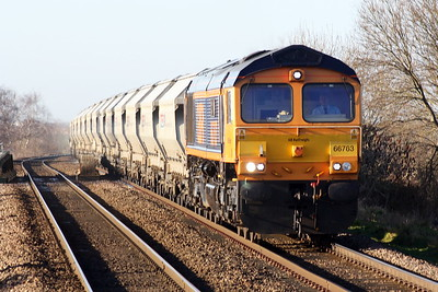 66763 SEVERN VALLEY RAILWAY runs through Whittlesea on 4Gg6 Peterborough - March Up Sidings sand empties, 18/01/20.