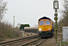 66752 THE HOOSIER STATE approaches Badgeney Road AHB on 6E88 Middleton Towers - Goole sand, 22/02/17.