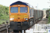 66735 rolls into Manea on 6H80 Harlow - Peterborough empty JNA's, 17/05/14.