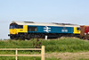 66789 BRITISH RAIL 1948-1997, erstwhile 66250, looking immaculate in Large Logo Blue livery, approaches Horsemoor AHB on 4M86 Ely North Junction - Wellingborough empty stone, apparently a trial run of 6L75 from Peak Forest, 05/06/18 - so that's what they wanted the buckeye-fitted loco's for! Note buckeyes in use - no buffers on leading wagon.
