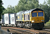 66746 leads 66509 as they approach Badgeney Road AHB on 4E62 Ipswich - Doncaster Railport, 02/07/14.