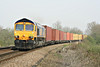 66701 heads 4L22 Hams Hall - Felixstowe South past Silt Road LC, 03/04/14.