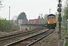 66732 hits the banking as it approaches Badgeney Road AHB on 4E33 Felixstowe North - Doncaster Railport, 03/04/14.
