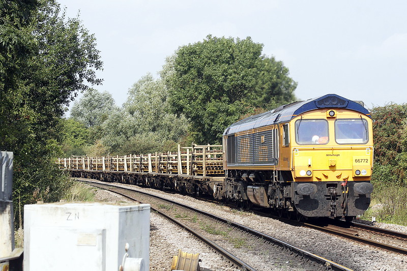 66772 MARIA approaches Badgeney Road AHB on 6H97 Whitemoor Yard - Whitemoor Yard, bound for Ely West Curve to turn, 18/09/21.