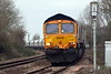 66788 LOCOMOTION 15 approaches Badgeney Road AHB on 6L75 Peak Forest - Ely North Junction stone, 06/01/20.