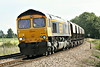 66744 approaches Silt Road LC on 6E67 Middleton Towers - Goole Glassworks, 22/08/14.