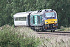 68004 RAPID approaches Silt Road LC on 5Z54 Norwich Crown Point - Doncaster West Yard with Mk3 10247 bound for Works, 21/08/14.