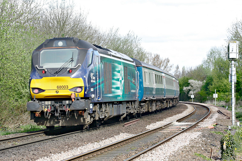 68003 ASTUTE on the rear of 5Z29 Norwich Crown Point - Burton on Trent Wetmore Sidings ecs as it passes Badgeney Road AHB, 57007 at the head, 10/04/17.