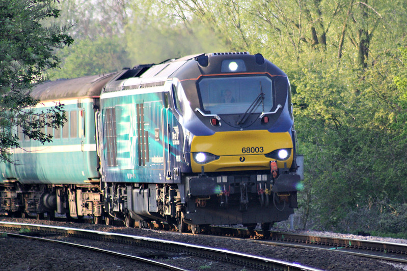 68003 ASTUTE approaches Badgeney Road AHB on 5Z29 Burton on Trent Wetmore Sidings - Norwich Crown Point composed of old Anglia Mk.2's No.s 6042, 5921 and 9520, 07/04/17.