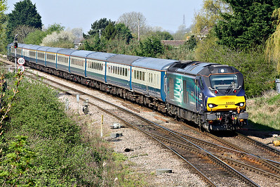 68023 ACHILLES approaches March West Junction on 5Z86 Burton on Trent - Norwich, the ecs for tomorrow's NENTA Rail Tour 1Z88 'Lakes, Shap & Cumbrian Coast Circular', 68001 EVOLUTION bringing up the rear, 20/04/18.