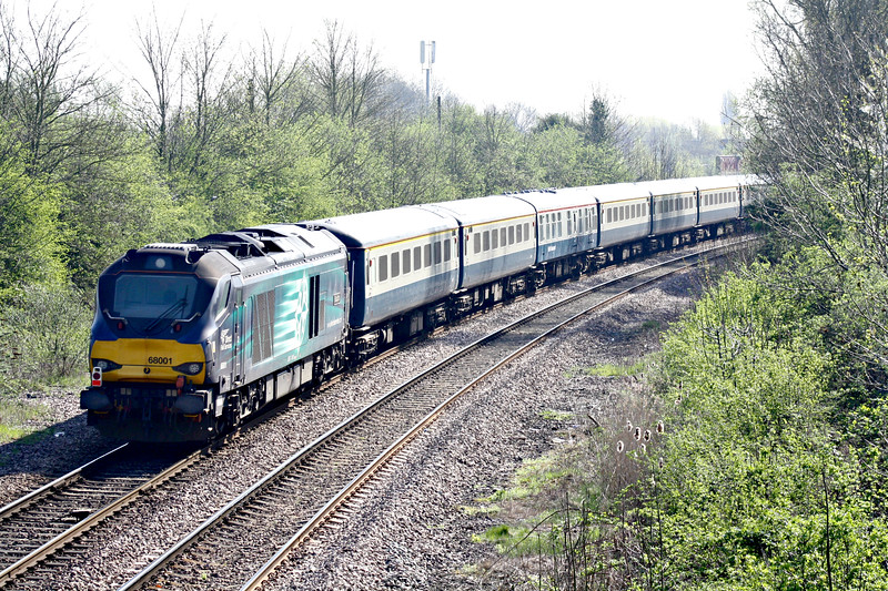 68001 EVOLUTION passes March West Junction on the rear of 5Z86 Burton on Trent - Norwich, the ecs for tomorrow's NENTA Rail Tour 1Z88 'Lakes, Shap & Cumbrian Coast Circular', 68023 ACHILLES in the lead, 20/04/18