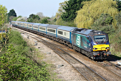 68023 ACHILLES approaches March West Junction on 5Z86 Burton on Trent - Norwich, the ecs for tomorrow's NENTA Rail Tour 1Z88 'Lakes, Shap & Cumbrian Coast Circular', 68001 EVOLUTION bringing up the rear, 20/04/18