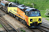 70802 draws out of Whitemoor Yard on 6C63 for Spalding, t/t with 66724, 13/05/14.