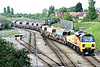 70802 draws out of Whitemoor Yard on 6C63 for Spalding, t/t with 66 724, 13/05/14.