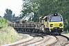 70802 approaches Silt Road LC on 6L37 Hoo Junction - Whitemoor Yard consisting of a loaded CWR train, 22/08/14.