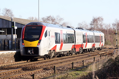 Class 755 337 pulls away from Whittlesea on 2L75 1150 Peterborough - Ipswich, 18/01/20.