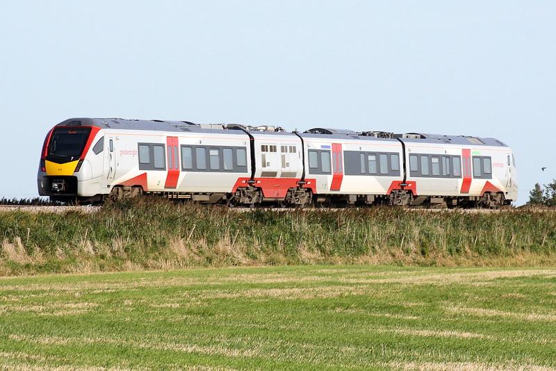 Class 755 326 passes Horsemoor on 2L59 1550 Peterborough - Ipswich, 17/09/20.