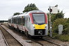 Class 755 333 slows to stop at Whittlesea on 2L77 1350 Peterborough - Ipswich, 12/08/21.