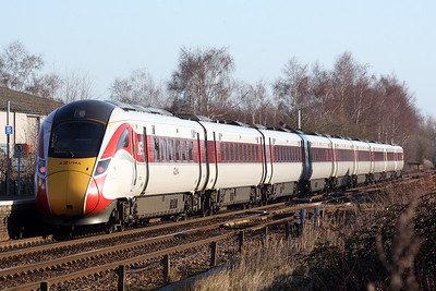 Class 800 103 passes Whittlesea on the diverted 1E04 0655 Edinburgh -  Kings Cross, 18/01/20.
