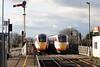 Class 800 103 passes stationary sister 800 106 at Whittlesea Station on the diverted 1E09 0930 Edinburgh - Kings Cross, 12/01/20.