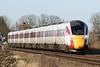 Class 800 104 passes Manea on the diverted 1E09 0930 Edinburgh - Kings Cross, 19/01/20.