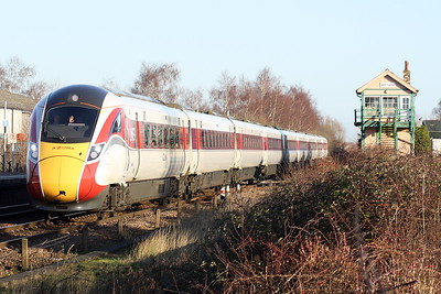 Class 800 105 passes Whittlesea on the diverted 1S19 1230 Kings Cross - Edinburgh, 18/01/20.