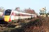 Class 800 105 passes Whittlesea on the diverted 1S19 1230 Kings Cross - Edinburgh, 18/01/20.